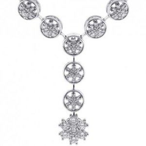 Necklace with chain 3.00 ct round cut diamonds whi